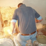 Elm Church - Nick using lime plaster made with slaked lime